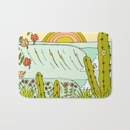 where nature and waves bloom art by surfy birdy Bath Mat