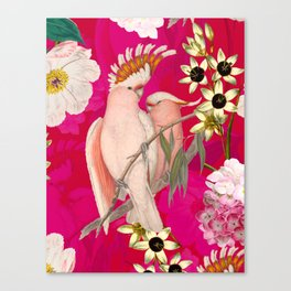 Vintage & Shabby Chic - Tropical Bird Flower Garden Canvas Print