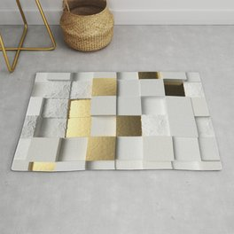 Elegant Cube wall 3D art- white and gold Rug