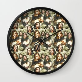 Halloween Zombies Seamless textile pattern Wall Clock