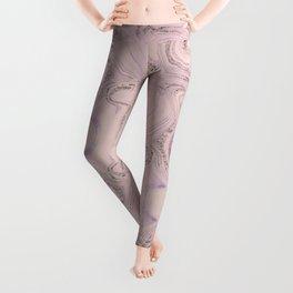 Pastel Pink Gold Faux Glitter Marble Leggings