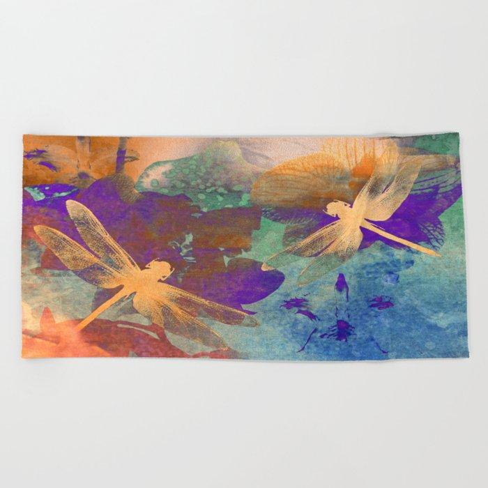 Orange Orange Dragonflies Beach Towel
