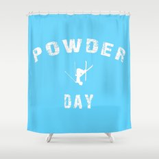 Powder Day Light Blue Shower Curtain