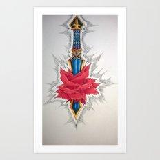Sword piercing a Rose Art Print
