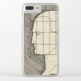 Female head and drawing in proportion to schedule,1542 Clear iPhone Case