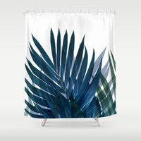 palm Shower Curtains featuring Palm Leaves by cafelab