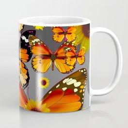 YELLOW & BROWN BUTTERFLIES  SUNFLOWER GREY ART Coffee Mug