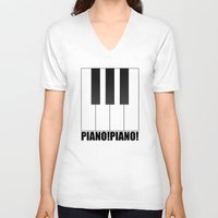 piano V-neck T-shirts featuring PIANO!PIANO! by AWOwens