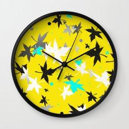 Forever Autumn Leaves Ochre 3 Wall Clock