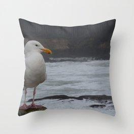 Friendly Seagull Throw Pillow