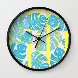 Linocut Monstera Neon Wall Clock