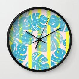 Linocut Monstera Neon Wall Clock