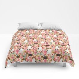 Beagle florals cute pet portrait pattern garden spring summer dog lover pet gift dog art fur baby Comforters