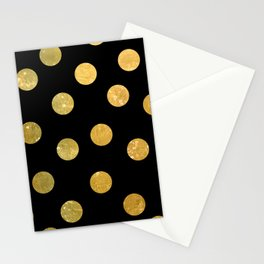 NL 8 Gold and Black Polka Dots Stationery Cards