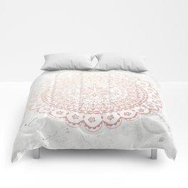 Rose gold mandala and grey marble Comforters