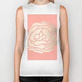Rose White Gold Sands on Salmon Pink Biker Tank