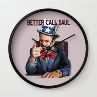 better call saul Wall Clocks featuring Better Call Saul by Magdalena Almero