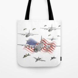 American Air Force Armada AC130 F22 F16 A10 Tote Bag