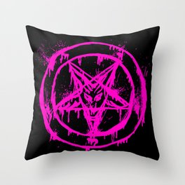 Pink Pentagram Throw Pillow
