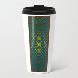 Celtic Knotwork Panel in Delft Blue Travel Mug