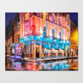 Rainy Night In Dublin Town - Irish Pub Art Canvas Print