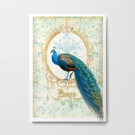 Paris Peacock Metal Print