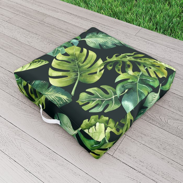 Watercolor Botanical Tropical Palm Leaves on Solid Black Background Outdoor Floor Cushion