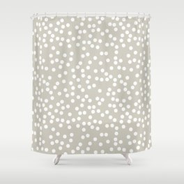 Beige and White Polka Dot Pattern Shower Curtain