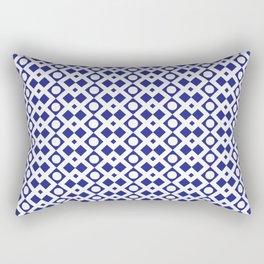 Geometric Pattern - Diamonds and Dots - Navy Blue & White Rectangular Pillow