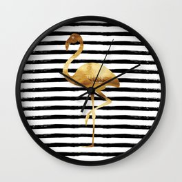 Flamingo & Stripes - Black Wall Clock