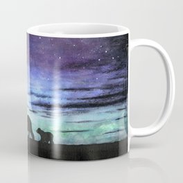 Aurora borealis and polar bears (black version) Coffee Mug