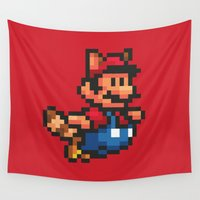 super mario Wall Tapestries featuring Pixelated Super Mario Bros - Mario by Katadd