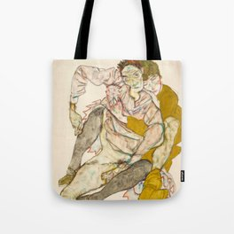 """Egon Schiele """"Seated Couple"""" Tote Bag"""