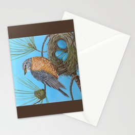 Robin with nest in Georgia pine tree Stationery Cards