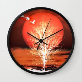 Sun in red Wall Clock