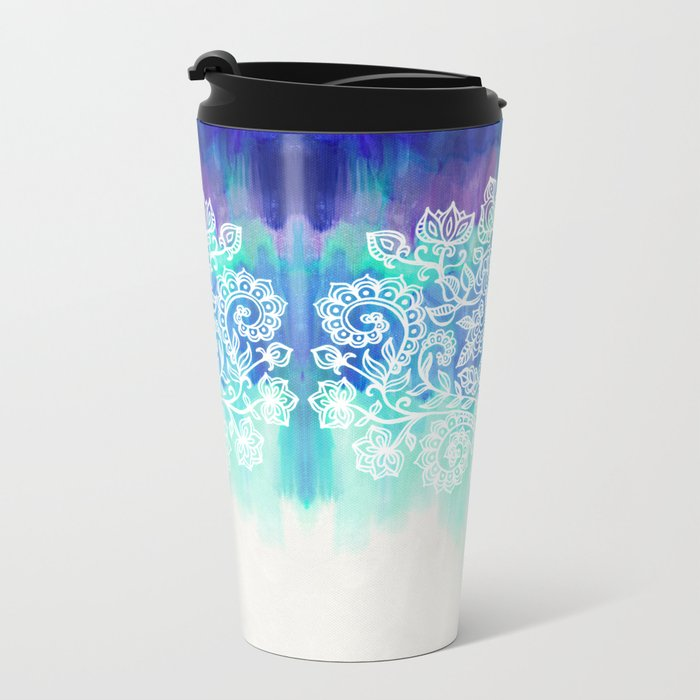 Indigo & Aqua Abstract - doodle painting Metal Travel Mug