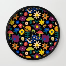 60's Country Mushroom Floral in Black Wall Clock