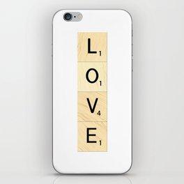 LOVE - Vertical Scrabble Letter Tiles Art iPhone Skin