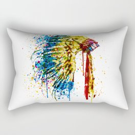 Native American Feather Headdress Rectangular Pillow