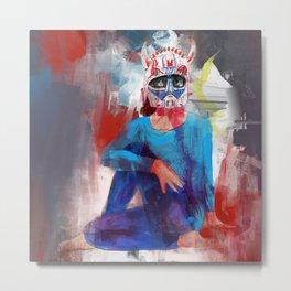 Yoga Devil Horn Mask - 647. Metal Print