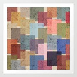Vintage Colorful Squares Art Print