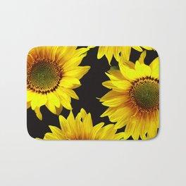 Large Sunflowers on a black background - #Society6 #buyart Bath Mat