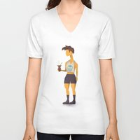 oakland V-neck T-shirts featuring Hipster Argentino in Oakland by Patricio Sebastian Pomies