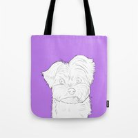 yorkie Tote Bags featuring Yorkie by FeliciaR