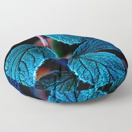 Peacock Blue Leaves Nature Background #decor #society6 #buyart Floor Pillow