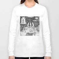knitting Long Sleeve T-shirts featuring Knitting Cats by Ulrika Kestere
