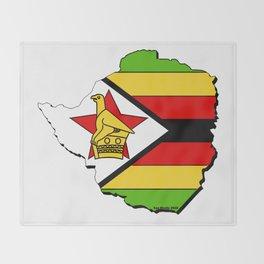 Zimbabwe Map with Zimbabwean Flag Throw Blanket