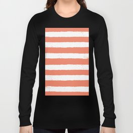 Coral Stripe Pattern Long Sleeve T-shirt