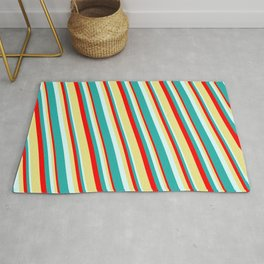 Red, Tan, Light Cyan, and Light Sea Green Colored Lined/Striped Pattern Rug
