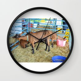 Family of Domestic Goats Wall Clock